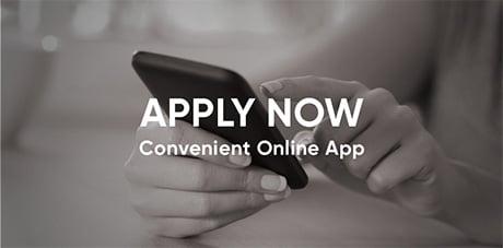 Fingers touching phone - Apply Now button - Convenient Online App