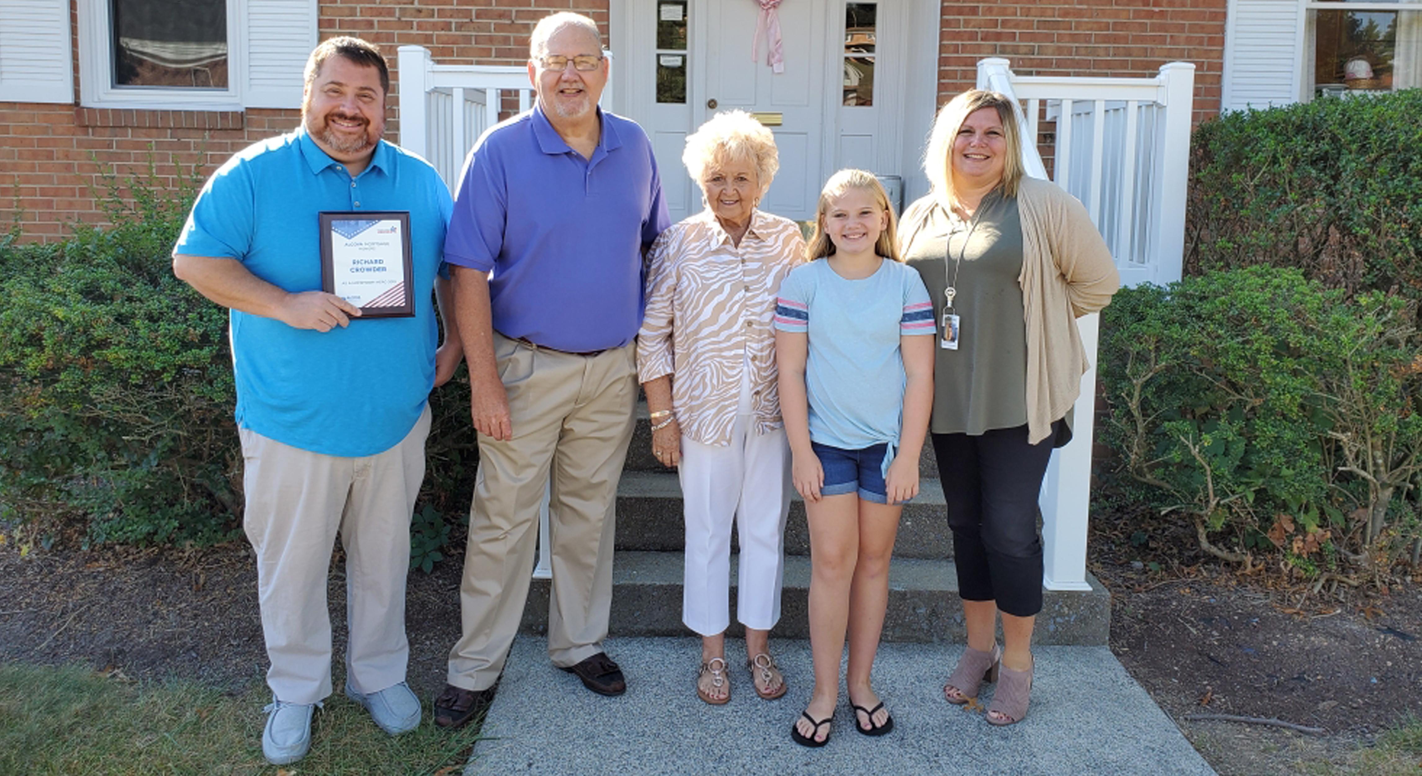 hometown hero richard crowder accepting award